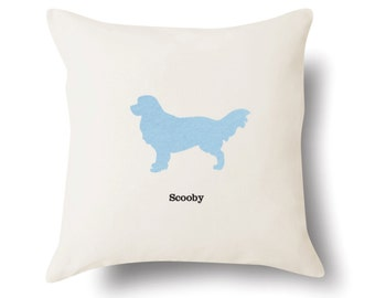Personalized Golden Retriever Pillow - Off White 100% Cotton - 18x18 -  Name or Text Embroidered - Pet Silhouette - 4 Color Choices