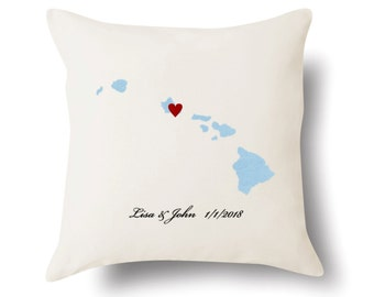 Hawaii Pillow - Hawaii Gift - Personalized HI State Map Pillow - 4 Color Choices