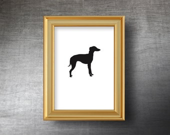 Whippet Wall Art 5x7 - UNFRAMED Hand Cut Whippet Silhouette Portrait - Personalized Name or Text Optional