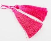 Long Virtual Pink Silk Thread Tassels -  3 inches - 77mm  - 2 pc
