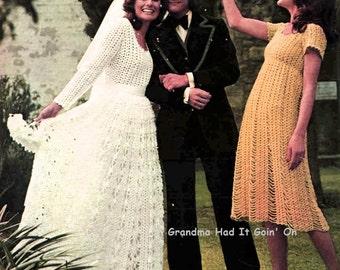 Wedding Dress - Crochet Bridesmaid Dress 1970s Vintage Crochet Pattern - PDF Instant Download - Digital Pattern - Pattern Lot Wedding Gown