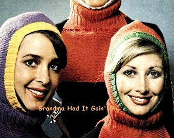 Ladies Balaclava Knitting Pattern : Vintage Snood Hair Net Hat Crochet Pattern Hair Net Hair