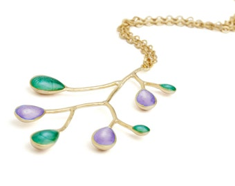 Green Purple Jewelry, Make Christmas Gifts, Gold Branch Necklace, Green Gold Necklace, Multicolor Jewelry, Branch Pendant,Xmas Gift Ideas