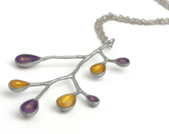 Good Christmas Gift,Silver Purple Necklace with Yellow,Silver Twig Necklace,Contemporary Necklace,Modern Silver Necklace,Xmas Gift Ideas Her