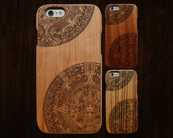 Wood iPhone 6 case. Works with 6/6S/6Plus/6SPlus. Aztec engraving. Single-piece body.