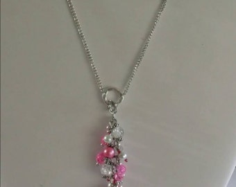 Pearl and Swavorskian Crystal Necklace/Pink/ Pearl set.