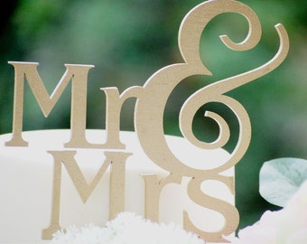 Custom Cake Topper Wedding, Ampersand Cake Topper, Mr and Mrs Wedding Cake Topper, Wedding Cake Topper, Custom Color, Wedding Cake Table