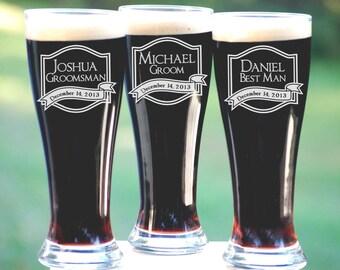 Personalized Groomsmen Gifts, Beer Glasses, Wedding Toasting Glasses, Pint Glasses, 19 Custom Beer Mugs, Gifts for Groomsmen, 16oz Glassware