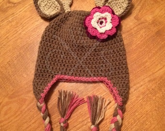 Adorable Girls Ear Flap Style Crochet Deer Hat with Tassels and Flower. Crochet Deer. Girls Deer Hat. Deer Hat. Crochet Deer. Crochet Hat