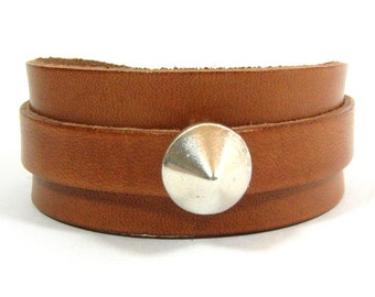 25mm Tan European Leather Adjustable Cuff Bracelet with Cone Slider (25-004)