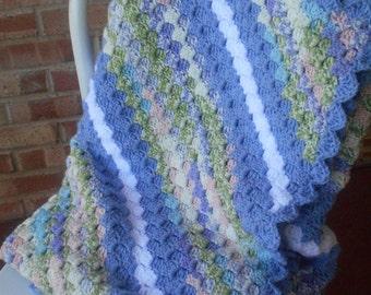 Large Crochet afghan sofa throw, very soft handmade throw, periwinkle blue stripe throw, large multi color afghan, sofa throw, Ready to ship