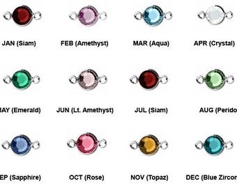 Swarovski Crystal Birthstone Connectors Silver Plated, Bezel Set Birthstone Connectors Links, Crystal Birthstones - 6mm  - CLK6S