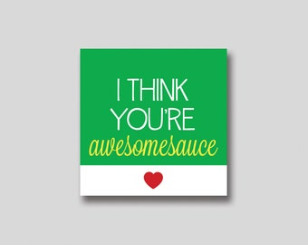 INSTANT DOWNLOAD Awesomesauce Valentine for Applesauce Pouch - Printable
