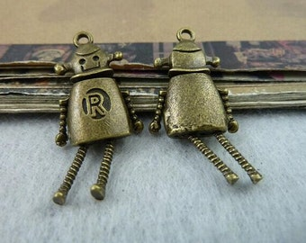 5pcs Antique Brass Movable Robot Charms Pendant 23x32mm Mechanic Charms Connector