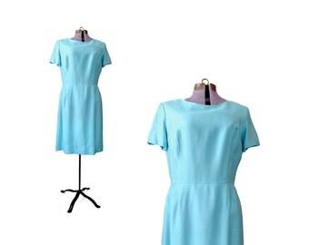 1960s Aqua Dress  / Large Dress /  Mint Green Dress /  1960s /  Blue / 1960s Dress / Vintage Clothing Dresses / Women Dresses Day