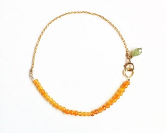 Tiny Beaded Carnelian and Gold Friendship Bracelet //gifts for bridesmaids //gifts for her //Gold bracelet //Carnelian bracelet