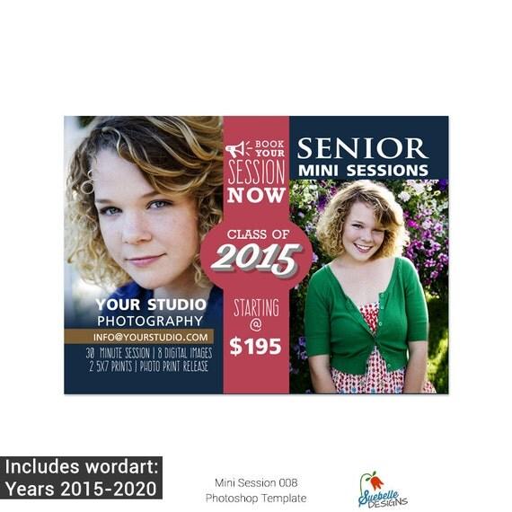 Senior Mini Sessions Marketing Board 008 Photoshop Template for Professional Photographers