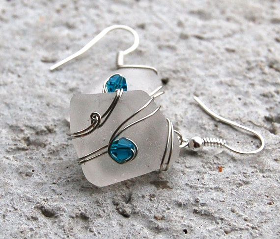 Sea Glass Earrings Wire Wrapped Beach Glass Jewelry Wire