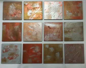 Canvas Art Large abstract paintings ORIGINAL CUSTOM ART 12 in Sq 3/4 inch deep canvas panel pick colors/sizes metallic shown