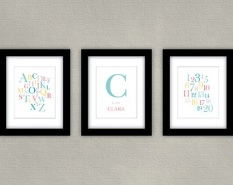 Customized Alphabet Wall Art Print with Numbers and Personalized Name - Aqua and Pink Nursery Decor