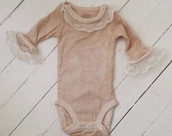 Hand Dyed, Hand Sewn, Onesie with Lace Embellishing
