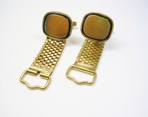 MESH WRAP CUFFLINKS, Monogram Cuff links, gold color, Retro, Man Gift, Wedding Jewelry, Suit Accessory, Formal Wear, Groomsman Gift