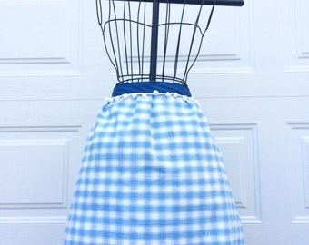 Tea Towel Apron - Upcycled Dish Towel Apron with Pom Pom Trim
