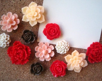 Flower Thumbtacks, 12 pc Push Pin Set, Peach, Red, Chocolate Brown, Tan, Bulletin Board Tacks, Wedding Favors, Small Gifts, Hostess Gift