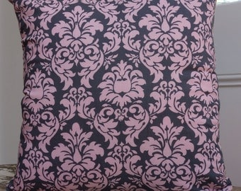 Michael Miller Dandy Damask in Pink and Grey 45cm Cushion Cover/pillow