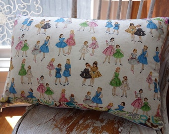 McCalls Little Girls Vintage Pattern Rectangular cushion with Brothers and Sisters Roco Beat Paisley trim