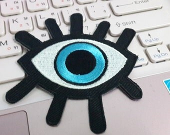 Eye Patch, Eye Iron on Patch, Eye Applique Embroidered Iron on Patch size 7.5 x 8.5 cm.