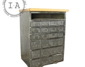 Industrial Brushed Steel 24 Drawer Wood Butcher Block Kitchen Island Cabinet