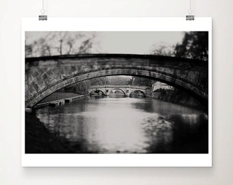black and white photography cambridge photograph bridge photograph river Cam photograph Queens College photograph English decor