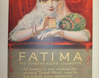 Vintage Fatima Cigarettes Ad with Cadillac Motor Cars on reverse