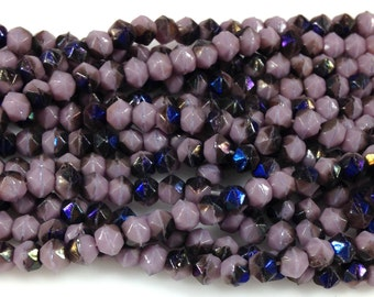 50 Purple English Cut Czech Glass Beads Azuro 4mm