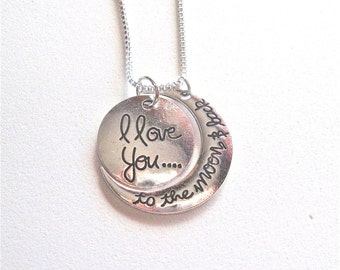 I Love you to the Moon and Back. Large Charm.