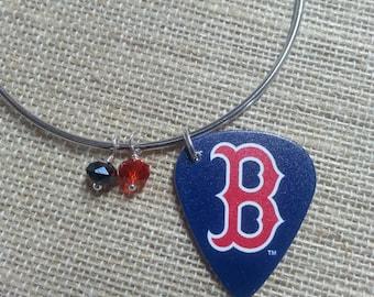 Boston Red Sox Guitar Pick Bracelet - Boston Red Sox Guitar Pick Bangle - Boston Red Sox Bracelet - Boston Red Sox Charm Bangle
