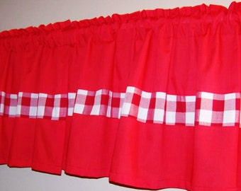 GINGHAM COLOR BLOCK Valance. Window Curtain, Red Valance,Kitchen, bedroom curtain, Bathroom curtain, anywhere you want. Great gift idea