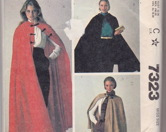 McCalls 7323 Vintage Pattern Womens Winter Cape in 3 Lengths Size Small UNCUT