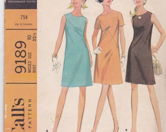 McCalls 9189 Vintage Pattern Womens  A Line Dress in 2 Variaitions Size 10