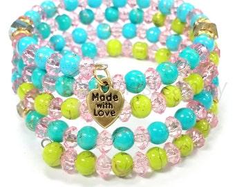 Memory Wire Bracelet, Beaded  Memory Wire Bracelet,  Blue and Green Beaded Bracelet, Handmade, Custom, Beaded Jewelry, Womens Jewelry