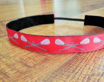 Red Lacrosse no slip headband. Red, lacrosse, headband, womens, girls, hair, accessory, non-slip, gift, sports, team colors, non-slip