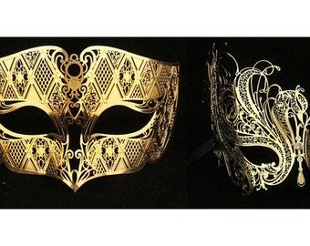 Lovers Men and Women Couple Masks Gold Masquerade Ball Laser Cut Metal masks