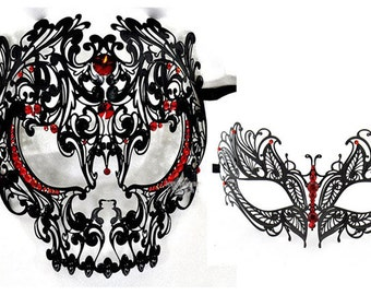 His & Hers Masquerade Couples Venetian Masks - 2 Piece Black Colored Set Metal Masks with Red Crystals