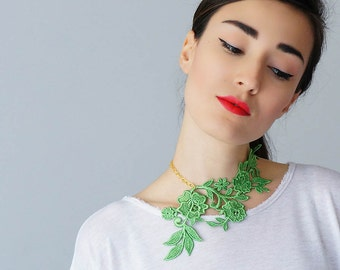 Lasata Green Necklace Lace Necklace Statement Necklace Lace Fashion Floral Necklace Women Accessory Gift For Her Woman Fashion