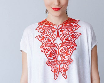 30% Inspiration Red Necklace Venise Lace Necklace Lace Jewelry Bib Necklace Statement Necklace Body Jewelry Gift/ FIORDI