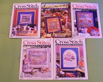 Vintage Cross Stitch & Country Crafts Magazines - Lot Of 5 - D