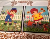 Pair of Raggedy Ann & Andy Wall Plaques by Lyn Stapco Vintage Raggedy Ann and Andy Wall Hanging Plaques