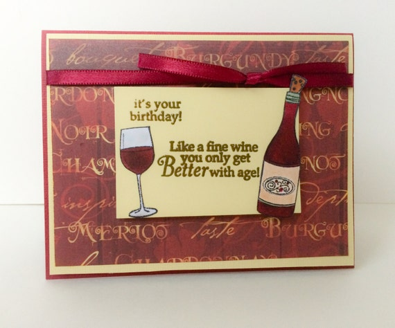 Birthday Card Wine Lovers Handstamped