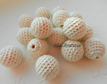 Crochet beads 5 PCS 17 mm Ivory Wooden crochet cotton beads Round beads